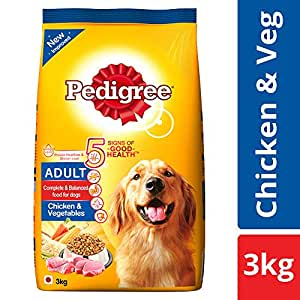 Pedigree Adult Dry Dog Food, Chicken and Vegetables, 3 kg