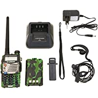 Baofeng UV- 5RA Walkie Talkie FM de Radio VHF / UHF Alcance Hasta 5 km, con Doble Banda , Pantalla Dual , Doble Modo de Espera y Reloj Incorporado Camuflaje