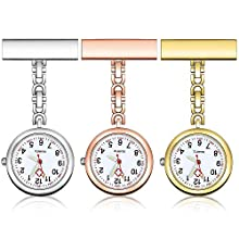 Anpro Nurse Watch,3pcs Silver/Rose Gold/Gold Fob Watch for Nurses and Doctors,Daily Waterproof