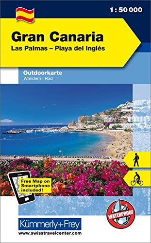 Gran Canaria Las Palmas - Playa del Inglés: Outdoorkarte Spanien, 1:50 000 Wandern, Rad Free Map on Smartphone included (Kümmerly+Frey Outdoorkarte International)