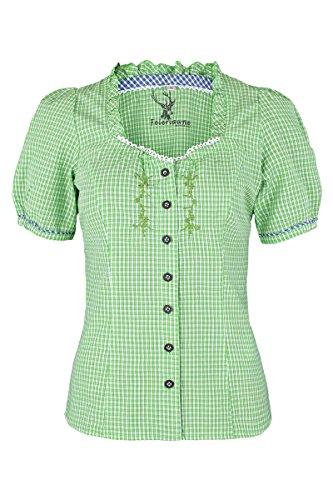 Damen Spieth & Wensky Trachtenbluse kurzarm kariert grün blau, grün-blau, 42