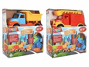 GLOBO- Camion con 36 Piezas Construction 2asst (40336), (1)