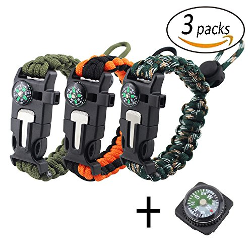REKYO 3pcs supervivencia pulsera, brazalete de Paracord, pulsera de emergencia al aire libre, Kit de engranaje de la supervivencia con iniciador de fuego pedernal