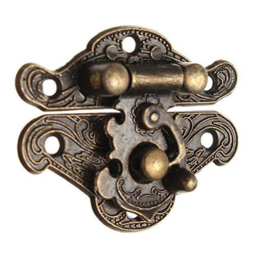 Schrankkasten-Überfalle, Antik-Retro-Vintage-Stil, dekorativer Riegel, Holz, Schmuckkästchen, Hasp Pad Truhe Lock 37 * 28mm bronze