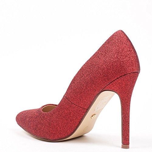 Ideal Shoes–Escarpins glitterate Zaira Rosso
