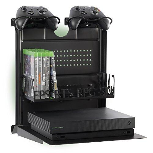 Preisvergleich Produktbild GameSide Bundle Big Daddy - Horizontal wandhalterung mit Kühlgebläse,  vielfarbig led licht für PS4,  Slim und Pro,  PS3,  Xbox One X,  Xbox One S,  Xbox 360 / Raum für 16 spiele,  2 pad / Schwarz