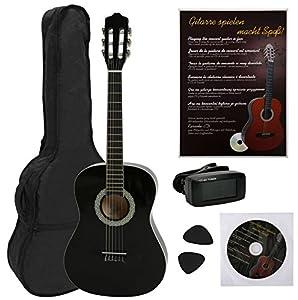 guitarras clásicas: NAVARRA NV12PK - Guitarra clásica STARTER PACK 4/4 negro con bordes crema incl. ...