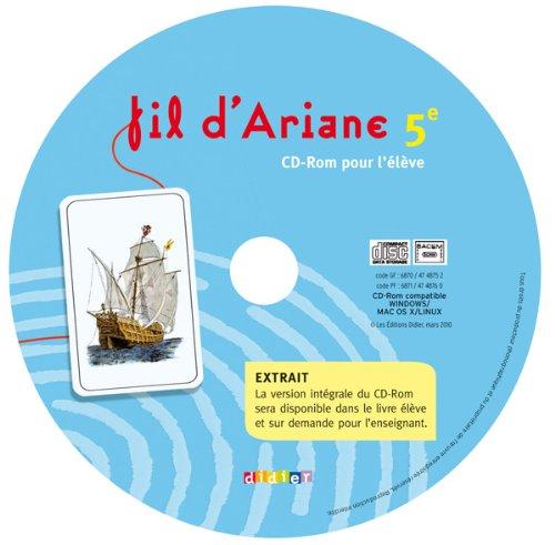 Fil d'ariane 5e - cd rom élève de remplacement
