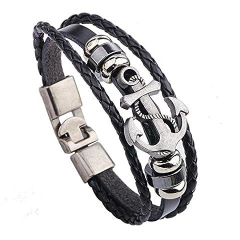 wjkuku Jewelry Fashion Icon Pirate Bracelet Bracelet Manchette en Cuir Chaîne en acier inoxydable Argenté/noir