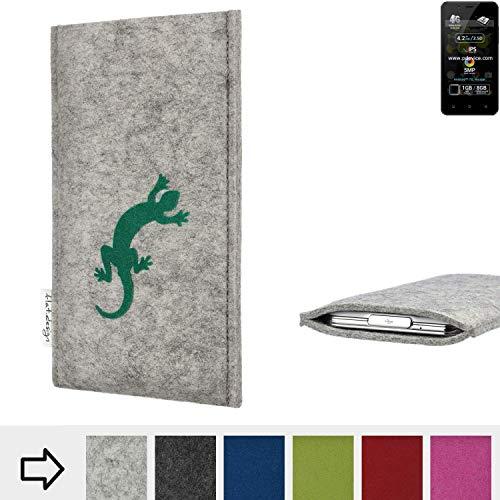 flat.design Handy Hülle FARO für Allview P4 Pro Made in Germany Handytasche Filz Tasche Case Gecko grün fair