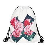 X Rosen Beutel Umhängetasche Kordelzug Aufdruck Blüten Festival String Bag