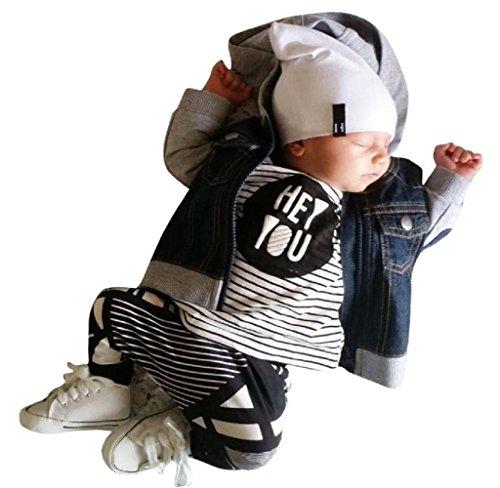 Covermason Kleinkind Baby Jungen Mädchen Streifen Druck Langarmshirts T-Shirt Pullover + Lange Hosen (70 (0-6 Monate), Weiß)