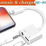 2 in 1 Lightning Adattatore Jack per Cuffie Portatili per iPhone X /8 /8 Plus iPhone 7/7 Plus iPad iPod. Auricolare Adattatore Audio AUX per Cuffie e Ricarica Cavo Adattatore.Connettore Lightning [Audio + Charge + Music] (Sostegno per iOS 11 System)
