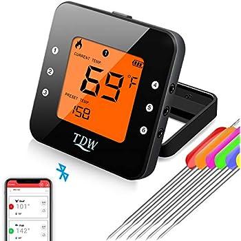 Aktualisierte Bluetooth Grillthermometer, BBQ Ofenthermometer Digital mit Doppelsonde, Fleischthermomete, 60M, Timer-Alarm, Gro/ßes Display, 11 Kostliche Einstellungen fur Kuche Grill, Steak Habor