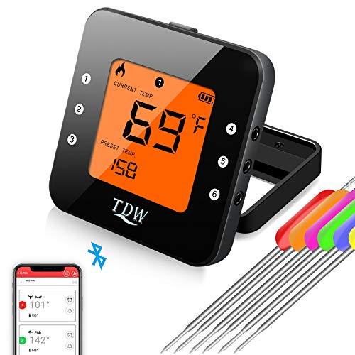 TDW [App Heat BBQ] Bluetooth Grillthermometer, Küche Digitales Thermometer Kit [6 Sonden&Halter, Küchenzange], Haushaltsthermometer mit Temperatur Voreinstellung, Küchenwecker, Sofortiges Auslesen