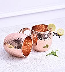AIA Set of 2 Hammered Copper Moscow Mule Beer Mug Cup, Barware, Best For Parties, 475 ML | 16 OUNCE