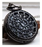 #6: LMP3Creation Black Classic Vintage Retro Antique Spider Web Net Small Love Heart Shape Round Hole Belt Pocket Watch With Chain (POW-0072)