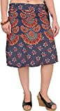 Exotic India Wrap-Around Sanganeri Short-Skirt with Printed Motifs - Color True NavyGarment Size Free Size