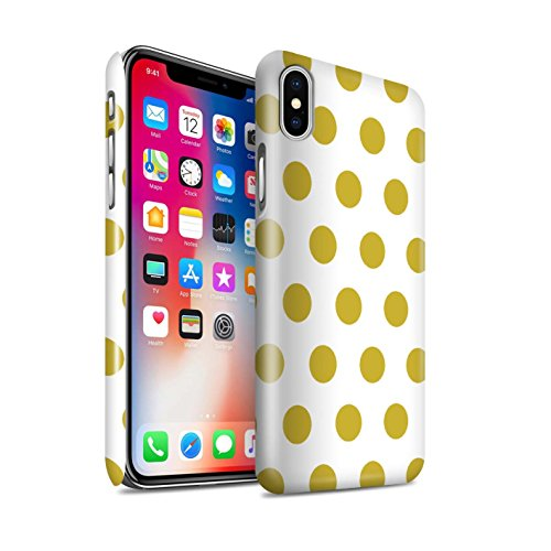 STUFF4 Glanz Snap-On Hülle / Case für Apple iPhone X/10 / Dunkelrosa Muster / Dotty Punktmuster Kollektion Gold