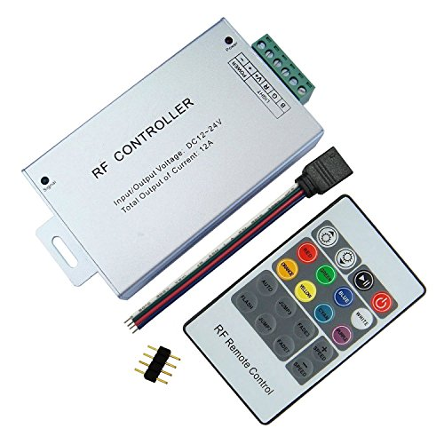 LitaElek 20 Botón Controlador RF La caja de aluminio DC 12V-24V 12A para RGB 5050 3528 Cinta de luz LED y la iluminación del automóvil