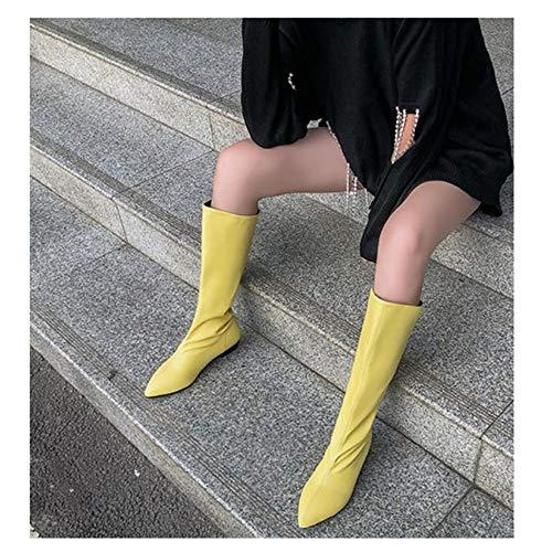 GEXING Frauen Overknee Stiefel Die Frauen Herbst und Winter arbeitet Spitz-Toe quadratische Ferse Kniestiefel Oberschenkel hohe Flache Ferse Hohe Stiefel (Color : C, Size : 41)