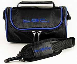 TGC ® Camera Case for Canon PowerShot A50 with shoulder strap and Carry Handle (Jet black & Dreamy Blue)