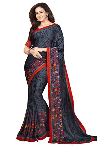 Vivera Women's Georgette Saree(VRRAKUL_BLACK77)