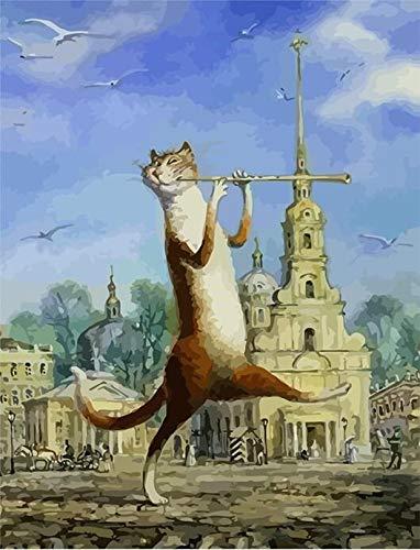 wwdfdd Malen Nach Zahlen Kein Rahmen Musik Flöte Katze Tiere DIY Wandkunst Bild Einzigartiges Geschenk Handgemalte Ölgemälde Für Wohnkultur 40X50 cm - Flöte Für Anfänger-musik-bücher