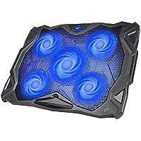 """Base Refrigeracion Portatil Ventilador Portátil Cooler Fan Refrigeracion Gaming con 5 Ventiladores Silenciosos y 2 Puertos USB, para Computadoras Portátiles de hasta 17""""(F2068) (Azul)"""