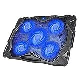 HAVIT Laptop Kühler Cooling Pad (bis zu 17 Zoll), Notebook Cooler Ständer Kühlmatte mit 5 Ventilatoren, 2 USB-Anschlüssen, Rotes LED Licht (Blau)