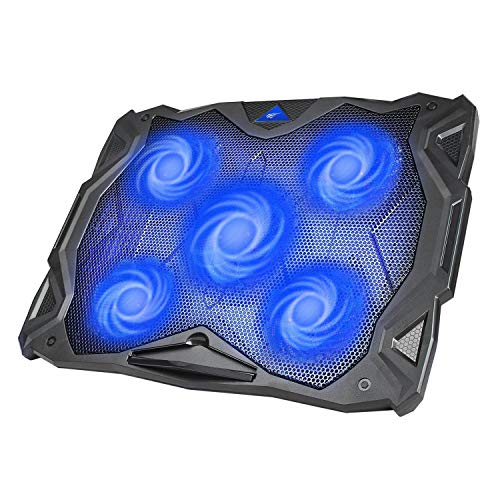 Base Refrigeracion Portatil Ventilador Portátil Cooler Fan Refrigeracion Gaming con 5 Ventiladores Silenciosos y 2 Puertos USB, para Computadoras Portátiles de hasta 17'(F2068) (Azul)
