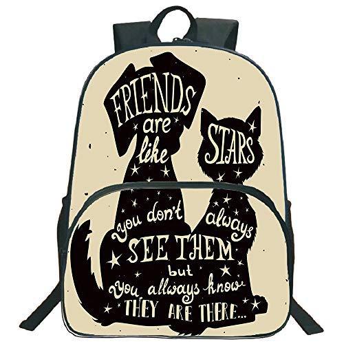 Lionkin8 Kreisförmige Vorderschulranzen Rucksack, Inspirational, Katze und Hund Silhouetten mit Freundschafts-Motto und Sternen, Grungy Display Dekoration, Schwarz Hellbraun, für Jungen und Mädchen -