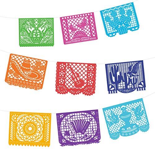 Amosfun Cinco De Mayo Dekorationen Bunte Große Papel Picado Banner Hallo Frühling Thema Party Hängen Liefert 9 STÜCKE