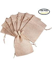 Pandahall - Lot de 100Pcs Pochettes/Sachets en Lin/Chanvre avec Cordon Couleur Jaune 18x13cm