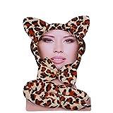 Ladies Mens Halloween Claw Horns SFX Kit Gants Masque de Peinture Cape Maquillage Latex Blood Wig Accessoires (Kit léopard)