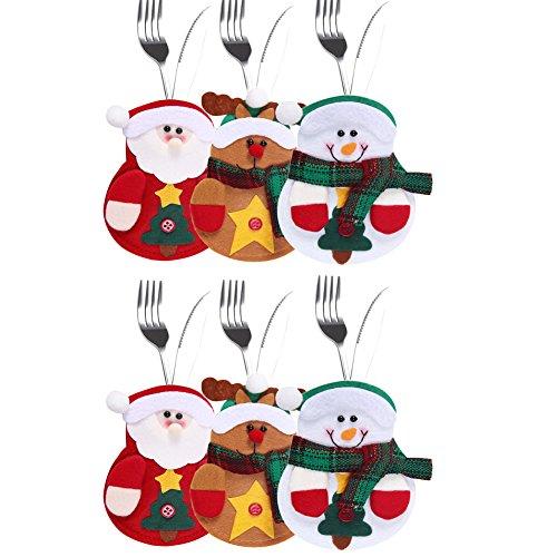laemilia 6pcs Küche Besteck Anzug Weihnachten Party Dekoration Messer Gabeln Tasche Schneemann Weihnachtsmann Elch 6 Stück farbe
