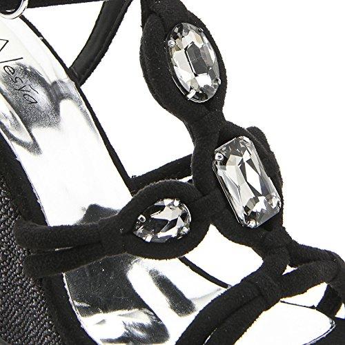 ALESYA by Scarpe&Scarpe - Semelles compensées avec T-bar et pierres Noir