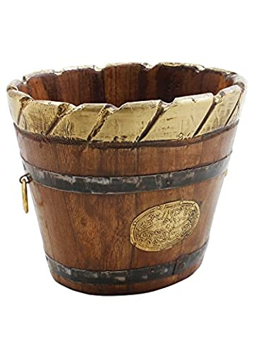 Diwali gifts, Wooden Planter With Brass And Iron Overlay