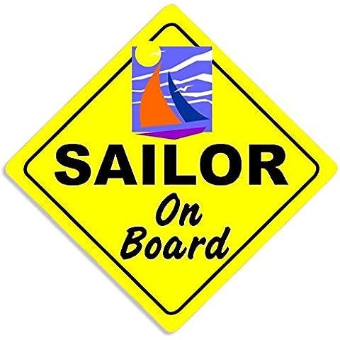 Sailor On Board - Boating Car Sticker Sign / Auto Adesivi / Porta Di Casa / Self Adhesive Bumper Decal