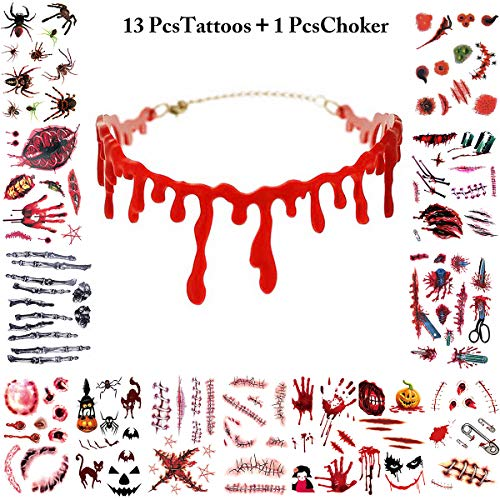 Halloween Tattoos + Halsband, Fascigirl Zombie Scars Vampire Tattoo-Aufkleber wasserdicht temporäre Tattoos Sticker Make-up für Halloween Kostüm Make-up-Party-Prop und Cosplay