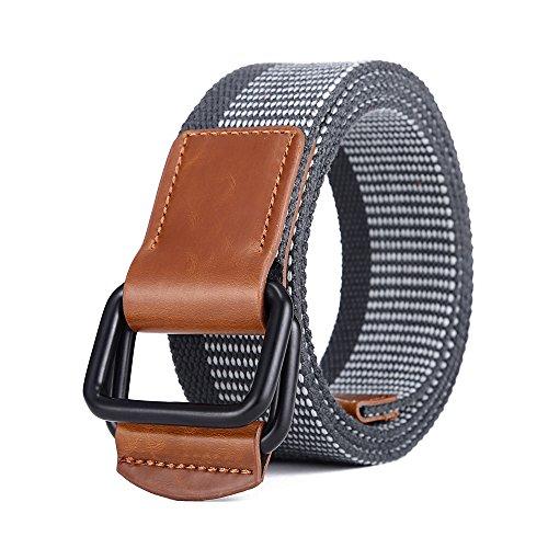 MIJIU Stoffgürtel für Damen und Herren Canvas Belt mit Doppelter D-Ring Schnalle (Klassische D-ring-gürtel)
