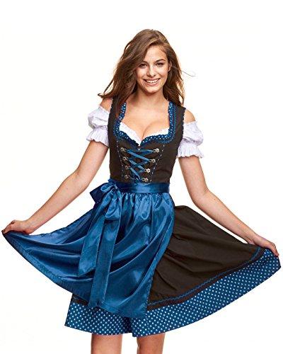 festliche dirndl midi Adelstrachten Dirndl Damen KF017 mit Bluse und Schürze 3 teilig- Größe: 48, Schwarz/Blau