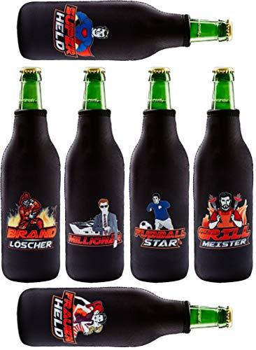 Tinovo Premium Bier Flaschenkühler (500 ml) // 6 Stück in einem Set // Cooles Männergeschenk // (BPA-frei) // Schwarz