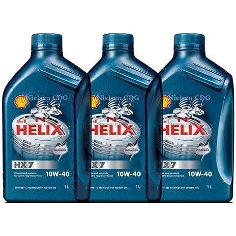 Shell Helix HX7 10w40 Olio Motore Semisintetico 3 barattoli da 1 Litro = 3 Litri