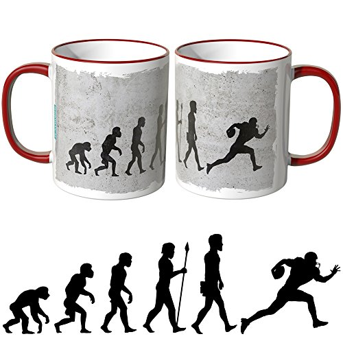 JUNIWORDS Tasse - Wähle Motiv & Farbe -Evolution Football - Rot