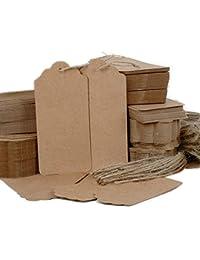 QUMAO 4,5*9,5cm 200PCS Carte Etiquette Brun de Papier Kraft Vintage avec 40M Ficelles pour Cadeau, Bagage, Mariage ou Livre