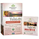 Tulsi Holy Basil Tea, Pomegranate Green, 18 Infusion Bags - Organic India