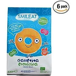 Smileat - Galletas Ecológicas De Espelta Y Manzana Con Aceite De Oliva Virgen Extra, pack de 6 x 220 gr. (Total 1320 gr.)