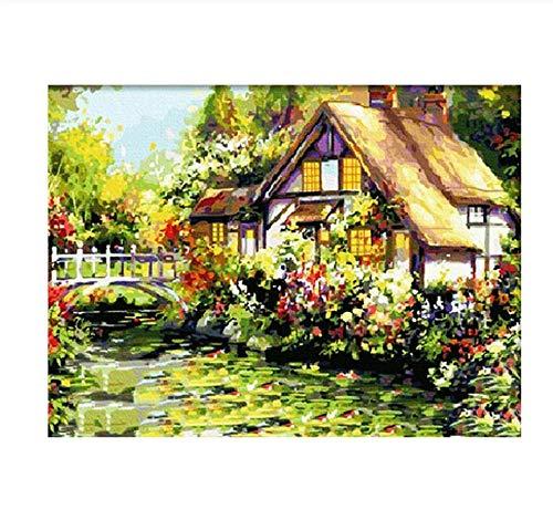 Malen Nach Zahlen Eine Hütte Unter Den Blumen Landschaft Bild Zeichnung Wohnzimmer Acryl Einzigartige Geschenke Leinen Dekor Kunst 40X50Cm