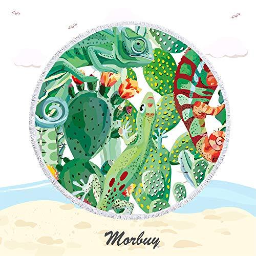 Kaktus Runde Strandtuch Mit Quasten Mikrofaser, Morbuy Strand Decke und Handtuch Weich Schal Tapestry Badetuch auf Schwimmen Yoga Matte